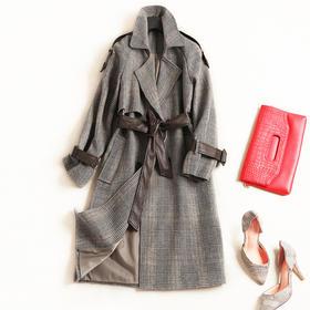 欧美时尚毛呢外套2018冬季女装翻领长袖绑带高腰气质通勤外套7160
