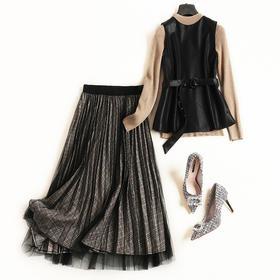 2018女装秋冬套装半高领打底衫修身马甲高腰半裙OL通勤裙套装7093