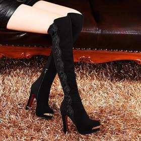 MLKL1035-3冬季新款欧美圆头绣花高跟侧拉链长靴