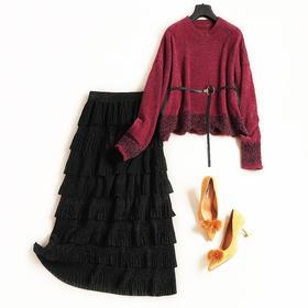 时尚套装2018秋冬新款女装圆领长袖针织衫蛋糕半裙淑女裙套装7193