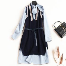 2018女装连衣裙秋冬新款立领长袖长衬衫宽松马甲学院风裙套装7376