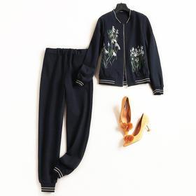 时尚套装2018秋冬女装棒球领长袖上衣针织九分裤休闲风裤套装7312