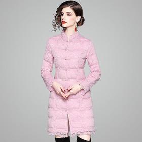 OYCP80990时尚复古单排扣蕾丝棉衣外套