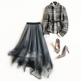 2018时尚套装秋冬新款女装立领长袖上衣高腰网纱裙通勤裙套装7161