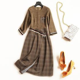 2018女装连衣裙秋冬新款女装圆领七分袖高腰格纹OL通勤中长裙7162