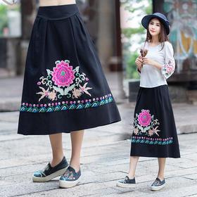 GN7689D秋季新款民族风刺绣棉麻半身裙