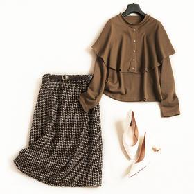 欧美时尚套装2018秋冬女装圆领长袖针织衫高腰半裙淑女裙套装7200