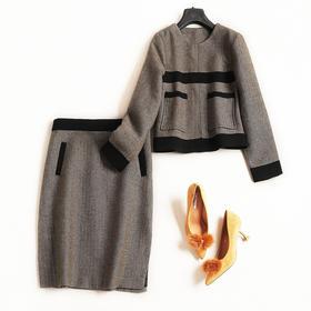 时尚套装2018秋冬新款女装圆领长袖上衣高腰半裙OL通勤裙套装7362