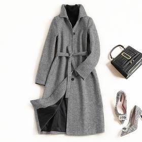 2018冬季新款毛呢外套欧美女装翻领长袖高腰气质通勤格纹外套7364