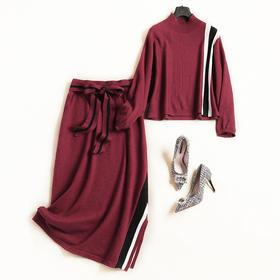 时尚套装2018秋冬女装罗纹立领长袖针织衫高腰半裙针织裙套装7159