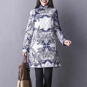 GN1930ND文艺棉麻印花夹棉连衣裙