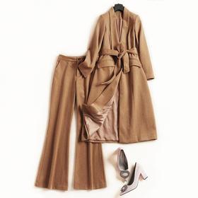 时尚套装2018秋冬新款女翻领长袖长外套高腰九分裤通勤裤套装7098