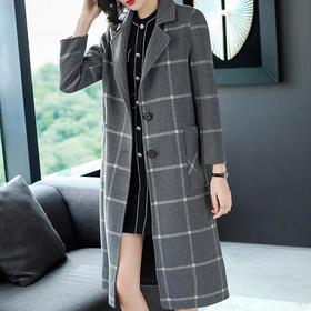 THX218407054修身显廋格子双面呢大衣
