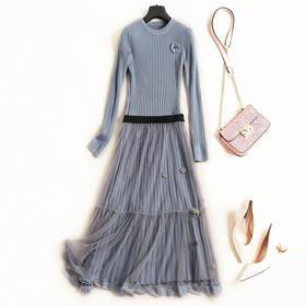 2018女装连衣裙秋冬圆领长袖修身显瘦纯色网纱半裙淑女裙套装7092