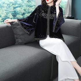 OG99075复古金丝刺绣丝绒外套风衣