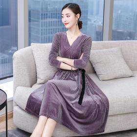 AHM80263as时尚气质圆领丝绒连衣裙