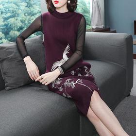 OG123-C高贵仙鹤刺绣羊毛无袖针织连衣裙