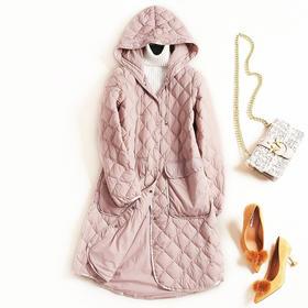 冬季羽绒服2018新款女欧美时尚连帽长袖修身纯色淑女中长外套7352