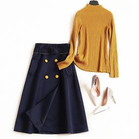 时尚套装2018秋冬新款女装长袖T恤高腰A字裙欧美淑女风裙套装7359