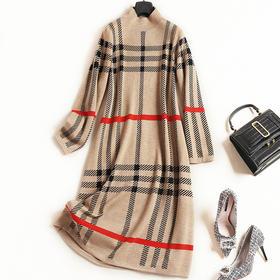 格纹连衣裙2018女装秋冬新款立领长袖宽松显瘦针织OL通勤中裙7321