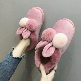 棉拖鞋女厚底冬季情侣居家居防滑室内可爱包跟保暖月子毛毛拖鞋男