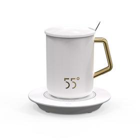 品度55度恒温杯可调温创意保温水杯带加热杯垫底座简约马克陶瓷杯