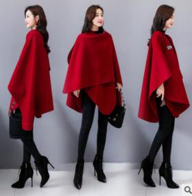 2018年冬季不规则下摆潮流拼接时尚纯色中长款毛呢外套CQ-BX1009