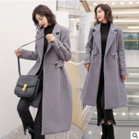 2018年秋季时尚翻领收腰大气百搭优雅中长款毛呢外套 CQ-jjyx822