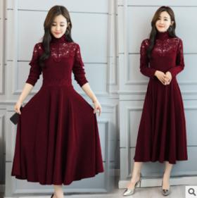 2018新款冬季蕾丝长袖中长款打底连衣裙女CQ- hyf5251