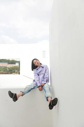 紫色风衣短外夹克 设计师款