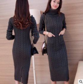 秋季时尚纯色长袖修身显瘦连衣裙CQ-YYYG9016-1