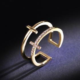 六鑫珠宝双层十字架合金戒指