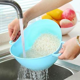 双手柄淘米器淘米篮实用塑料沥水篮洗菜篮子淘米盆洗米筛洗菜盆-863486