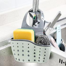 水槽沥水挂篮厨房可调节橡胶创意镂空洗碗海绵水池置物架收纳挂袋-863476
