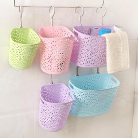 可挂式塑料收纳筐 厨房收纳篮子卫生间浴室杂物置物篮-863475