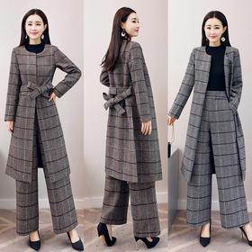 两件套宽松休闲时尚韩版百搭格子气质街头套装 CQ-BSA86