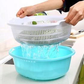 家用厨房双层塑料洗菜篮 创意多功能两件套果蔬沥水盆-863480