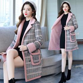 口袋时尚潮流休闲毛呢外套优雅韩版中长款百搭 CQ-XRNS875