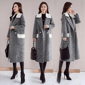 毛呢外套西装领长袖口袋时尚潮流中长款 CQ-QY8905