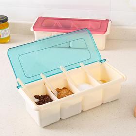方形带勺多格调料盒带盖塑料调味盒厨房味精佐料调料罐盐罐调味罐-863470