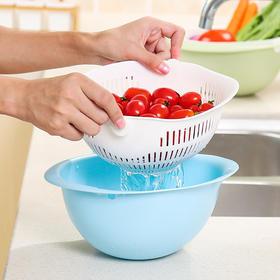 双层塑料沥水篮洗菜盆创意现代客厅水果盆水果篮家用厨房洗菜篮子-863484