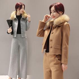 气质百搭长裤长袖时尚口袋显瘦修身套装 CQ-XRNS1675