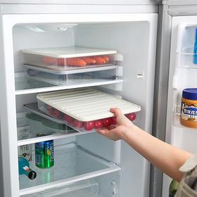 冰箱食品收纳盒 方形塑料单层密封盒大号透明分类保鲜盒-863533