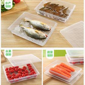 厨房冰箱沥水保鲜盒长方形透明食品冷冻密封盒水果蔬菜收纳盒子-863538