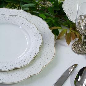 新骨瓷 荷叶边 金莎白色 汤盘意面盘甜品盘 3件套 家宴轰趴 满包邮
