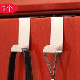 2只装不锈钢门背挂钩 Z型金属衣帽挂衣架 多功能厨卫柜挂钩-863717