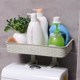 卫生间浴室置物架免打孔吸壁式厕所壁挂卫浴洗手间塑料马桶收纳架-863949