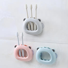 吸盘式牙刷架 创意卫生间塑料牙具收纳盒素色三口之家牙刷座-863923