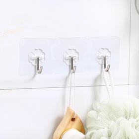 免钉无痕挂钩强力粘胶透明墙壁壁挂衣服挂钩厨房创意防水粘钩钩子-863724