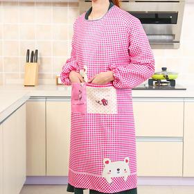 围裙 厨房卡通防水长袖罩衣成人女家用冬季潮版涤棉反穿衣-863614